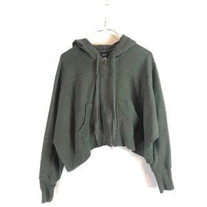 Victoria Secret • Green Zip Up Cropped Hoodie.